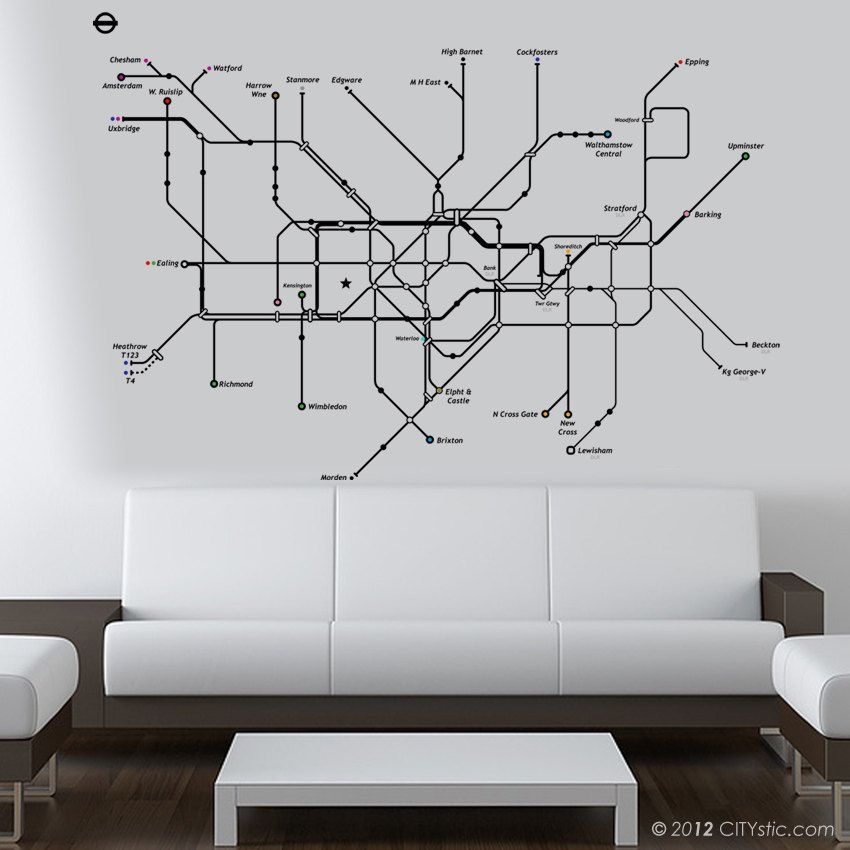 London Wall Decal Huge Underground Tube Map With Color Dots