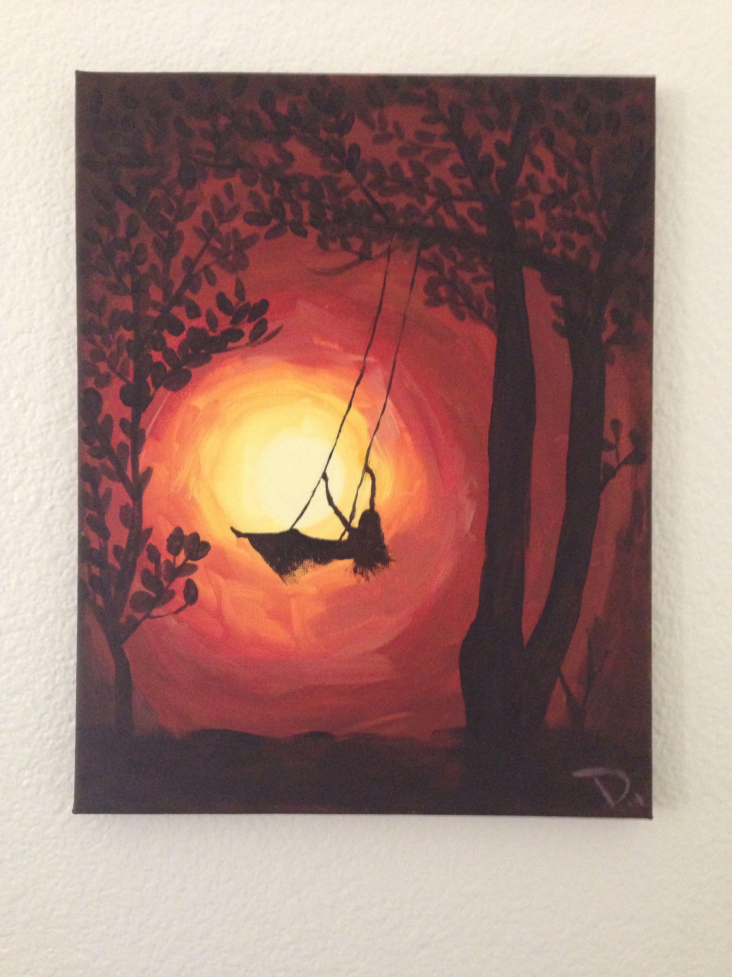 """carol"" Tree Painting With Silhouette Of Woman Swinging"