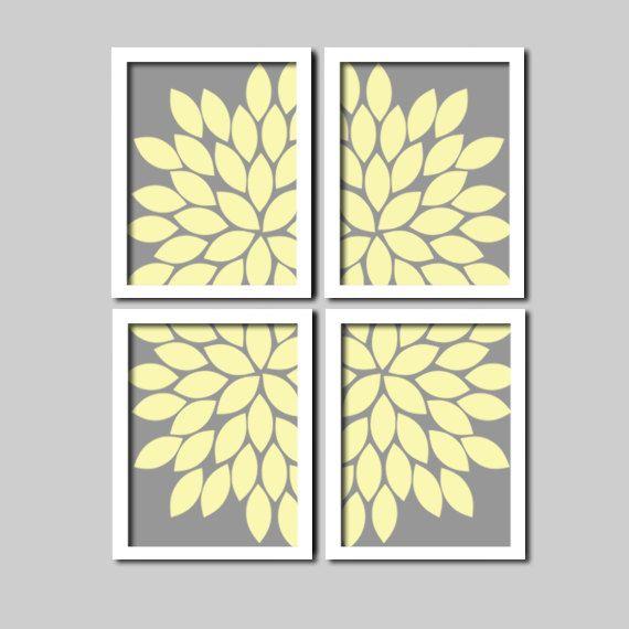 Bold Charcoal Grey Yellow Cream Flourish Design Artwork Set of 4 ...