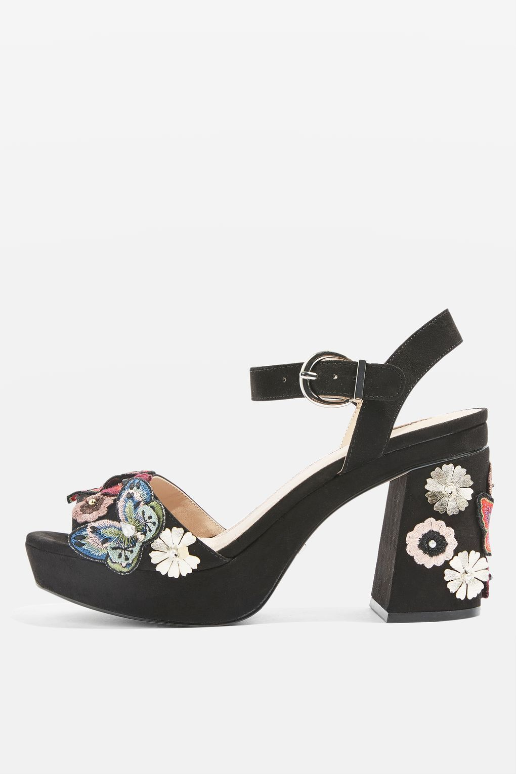 55676ca18331 Add height and character to your outfit with these embellished platform  sandals. Featuring a tall block heel and adjustable ankle strap