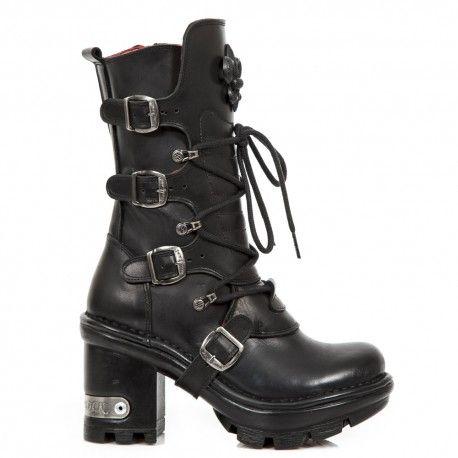 Zapatos negros con cremallera New Rock para mujer BQC5yMOar