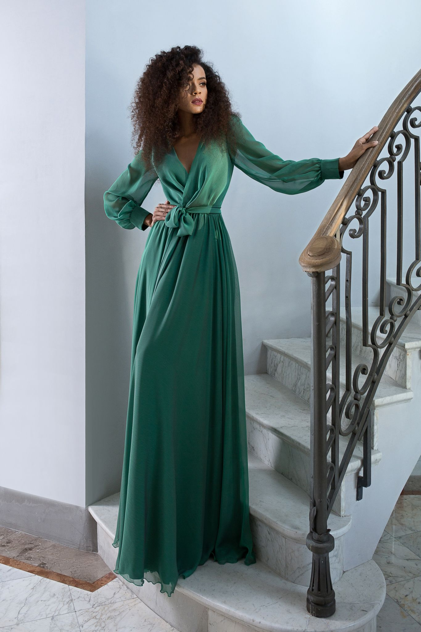 Emerald Green Silk Dress With Bishop Sleeves Maigre Couture Green Silk Dresses Green Long Sleeve Dress Maxi Dress Green