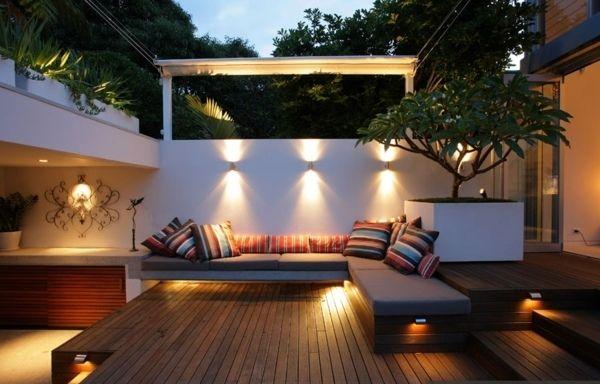 Moderne Terrasse Holz Kleingarten Beleuchtung Ideen