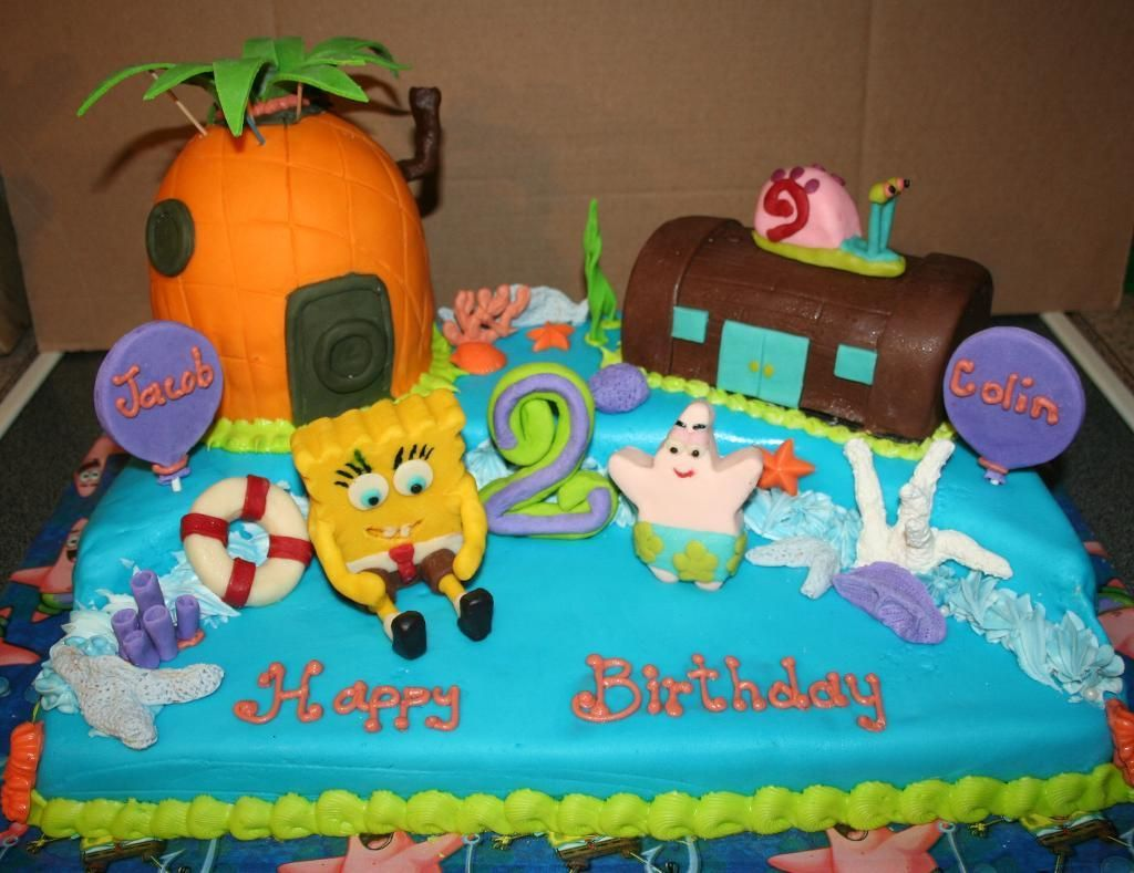 Boys Birthday Cakes | Spongebob Birthday Cake For Twin ...