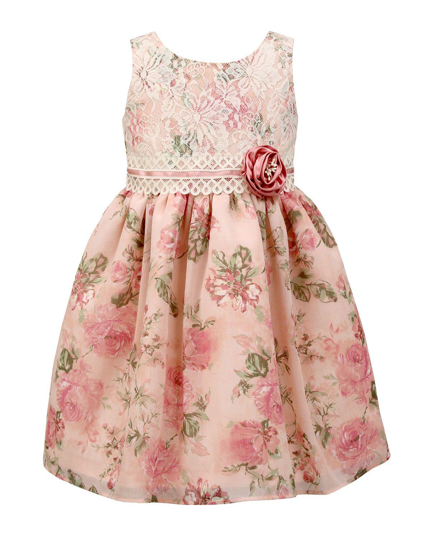 Sorbet Rose-Print Sleeveless Lace Dress, Pink, Size 2T-6X