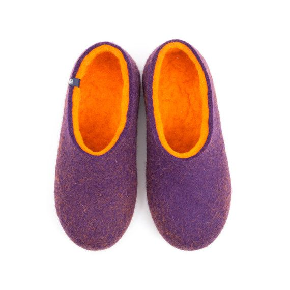 Ooak Slippers Womens Felt Bedroom Unique Gifts For Women Minimal House Shoes Ethical Clothing Soft Sole Wool