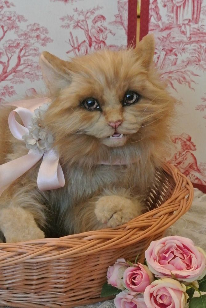 Bel Ami Bears Lifesize Naturalistic Longhaired Artist Cat with Open Mouth OOAK | eBay