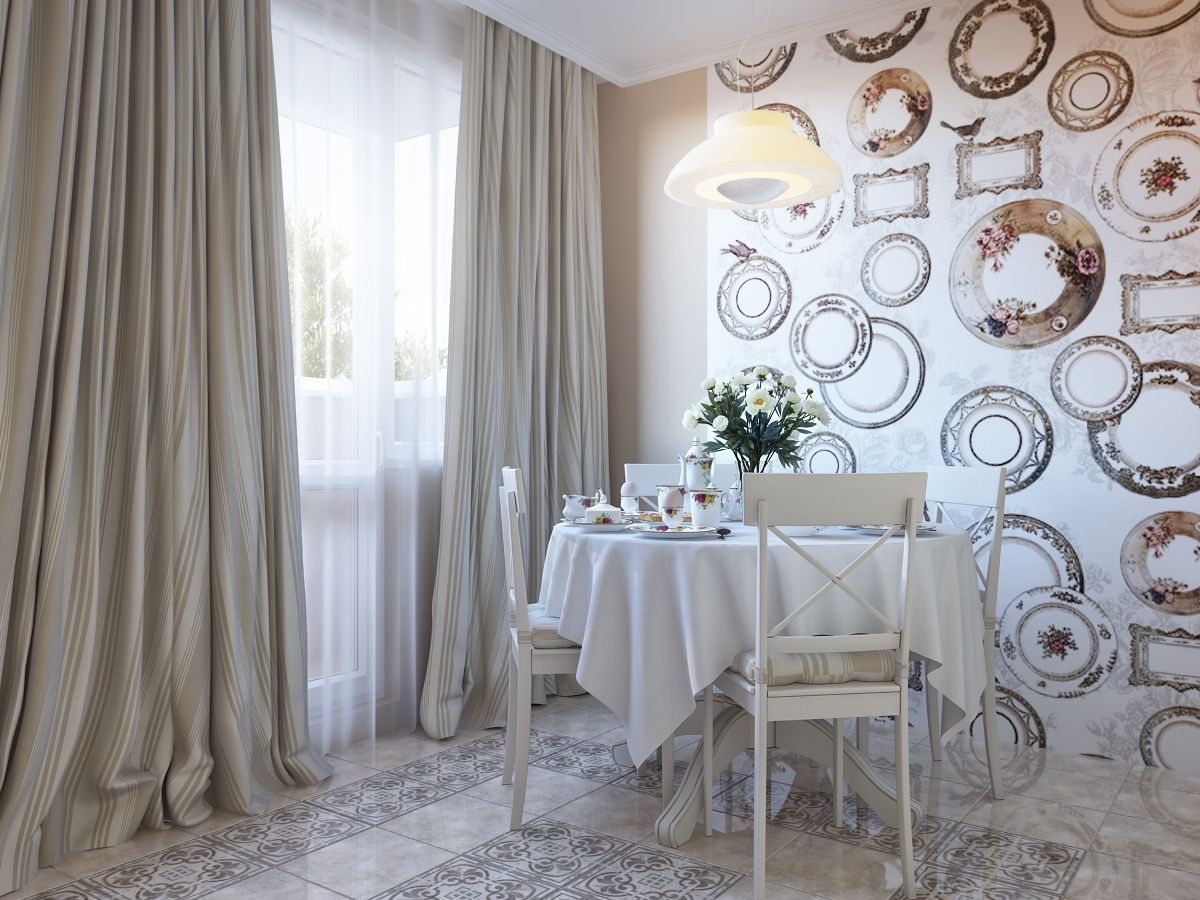 Kitchen Wallpaper Designs Ideas Part - 32: Kitchen, Plate Wallpaper Dining Decor Artistic Decorative Wall Curtain  Window Glass Cream Carpet And Floor ~ Exquisite Kitchen And Dining Room  Design ...
