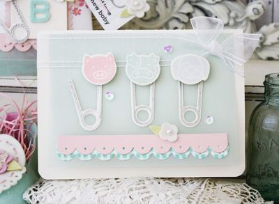 Diaper Pins Baby Card by Melissa Phillips for Papertrey Ink (May 2014)