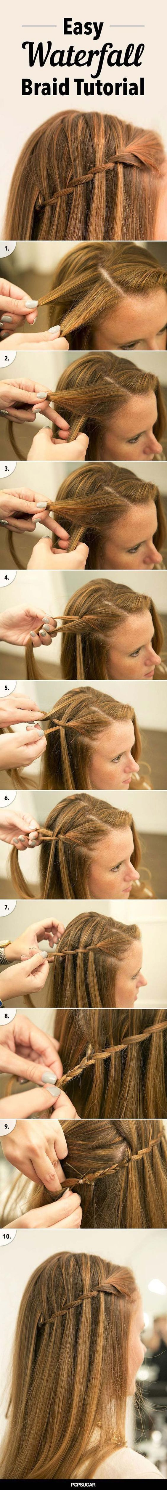 Best hairstyles for long hair waterfall braid tutorial step by