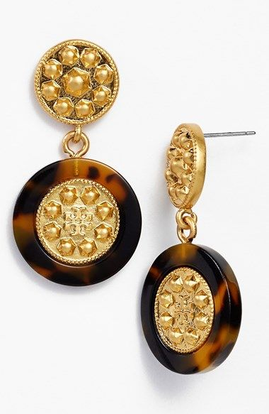 6b8029793 Free shipping and returns on Tory Burch 'Shiloh' Logo Drop Earrings at  Nordstrom.com. An always-in tortoiseshell motif borders these studded,  golden ...