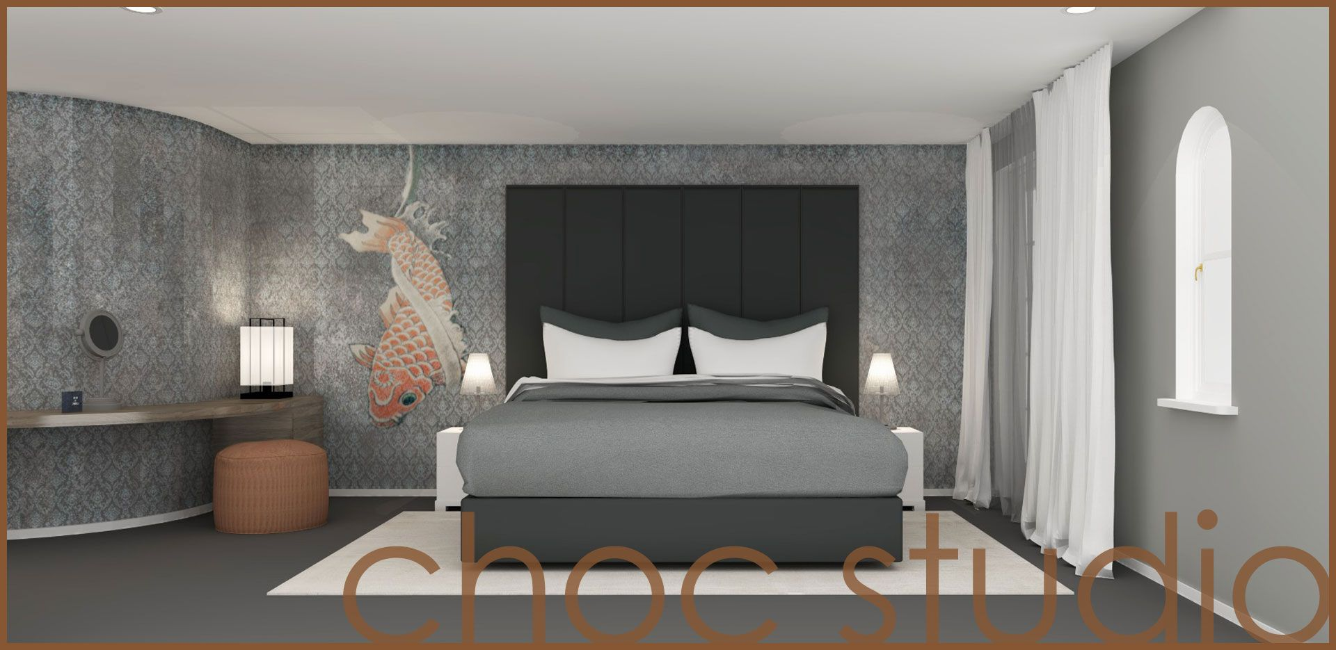 Masterbedroom - project by choc studio #randering #bedroom #interior_design #wallpaper_wall_and_deco