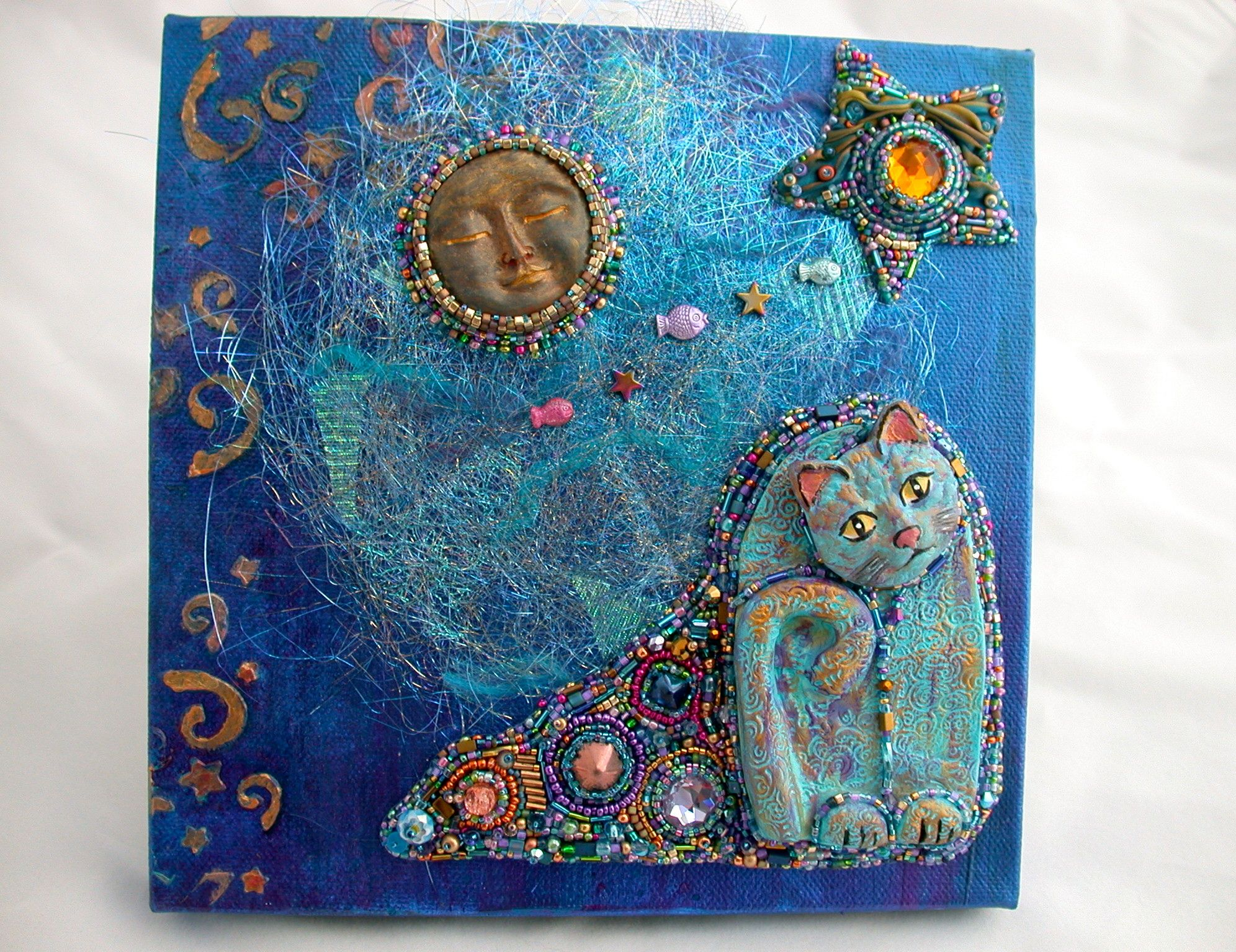 Blue cat dreaming mixed media canvas with bead