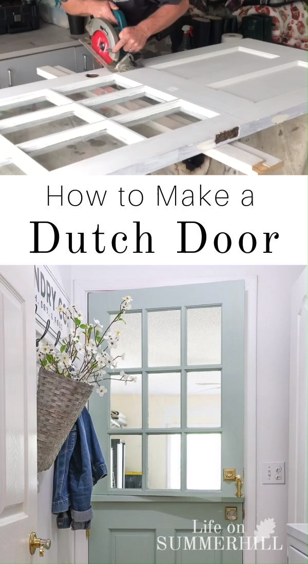 Here is a DIY Dutch door with shelf project that will improve your curb appeal or add style to your home.  Home improvement tutorial that is easy to follow.  Learn how to make a farmhouse half door for your interior laundry, mud room, kitchen, playroom, garage or front exterior. Old idea with a modern twist.  This wood door with window is painted blue green with Fusion Inglenook and Extra White with Sherwin Williams and brass hardware.  Build for your dog and children. #diy