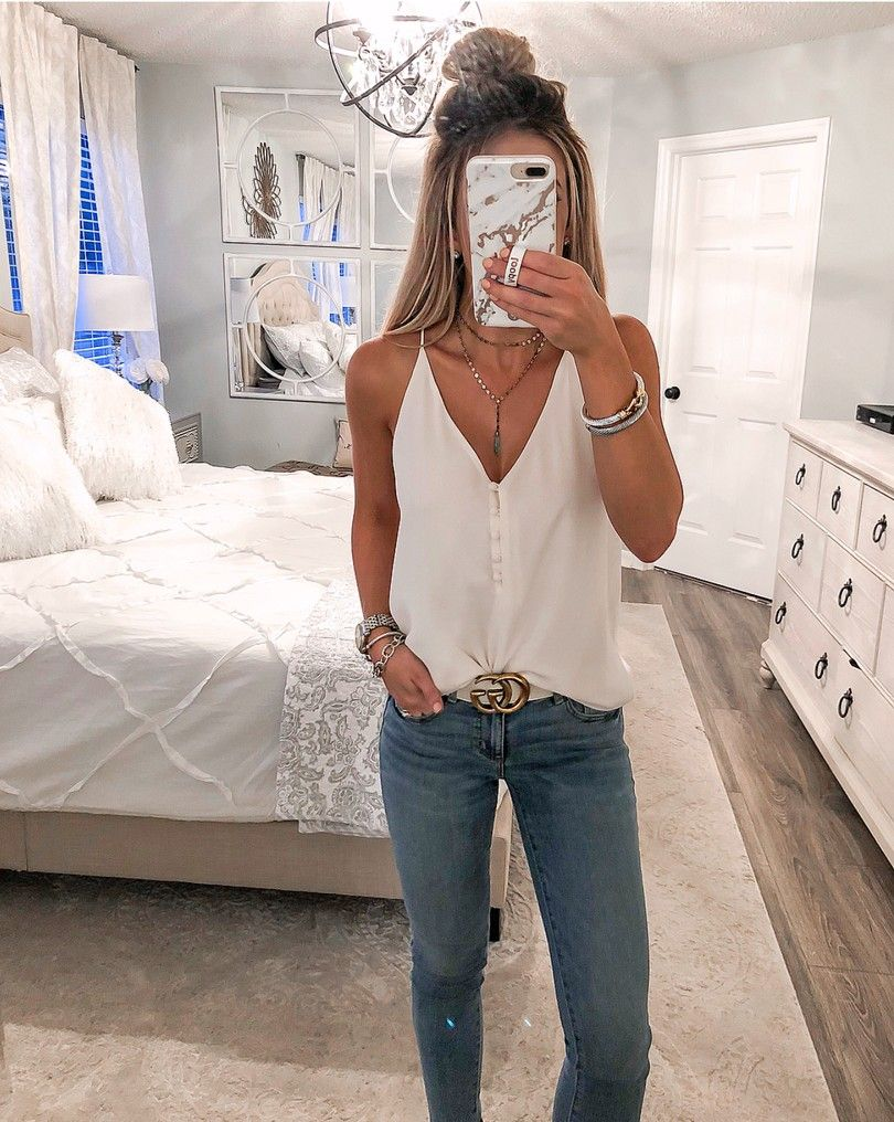 LOFT Covered Button Strappy Cami curated on LTK