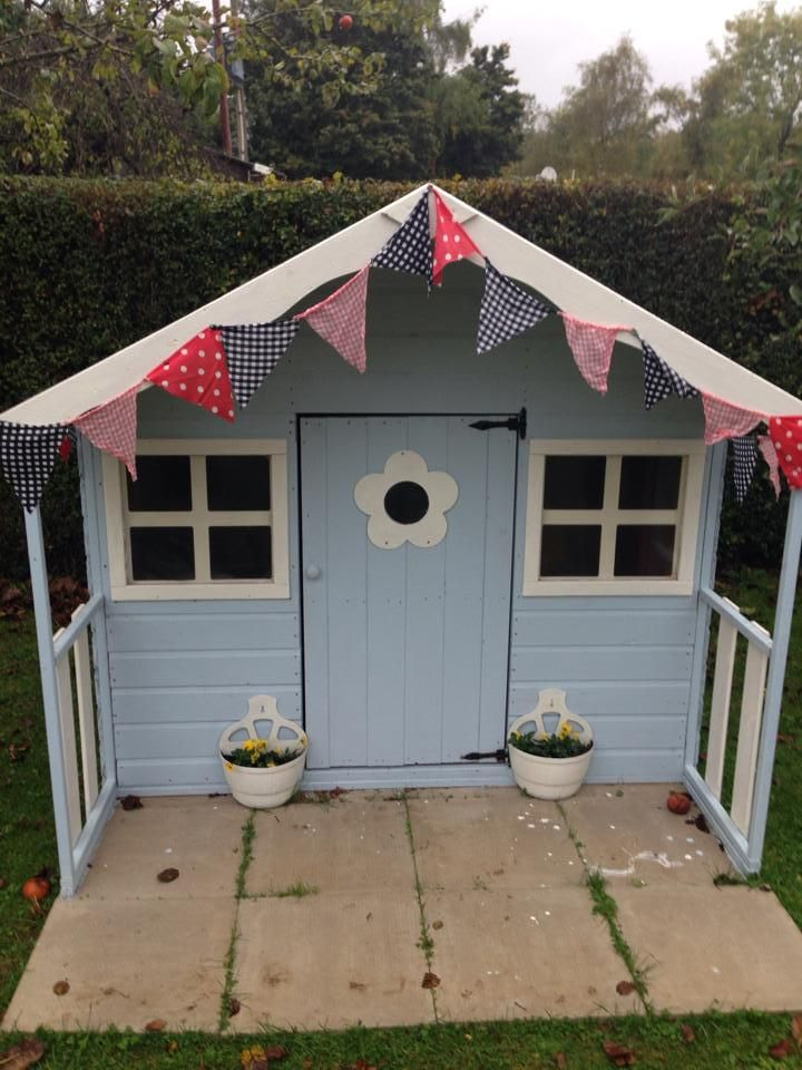 A Poppy Playhouse Painted Using Cuprinol Coastal Mint And Jasmine