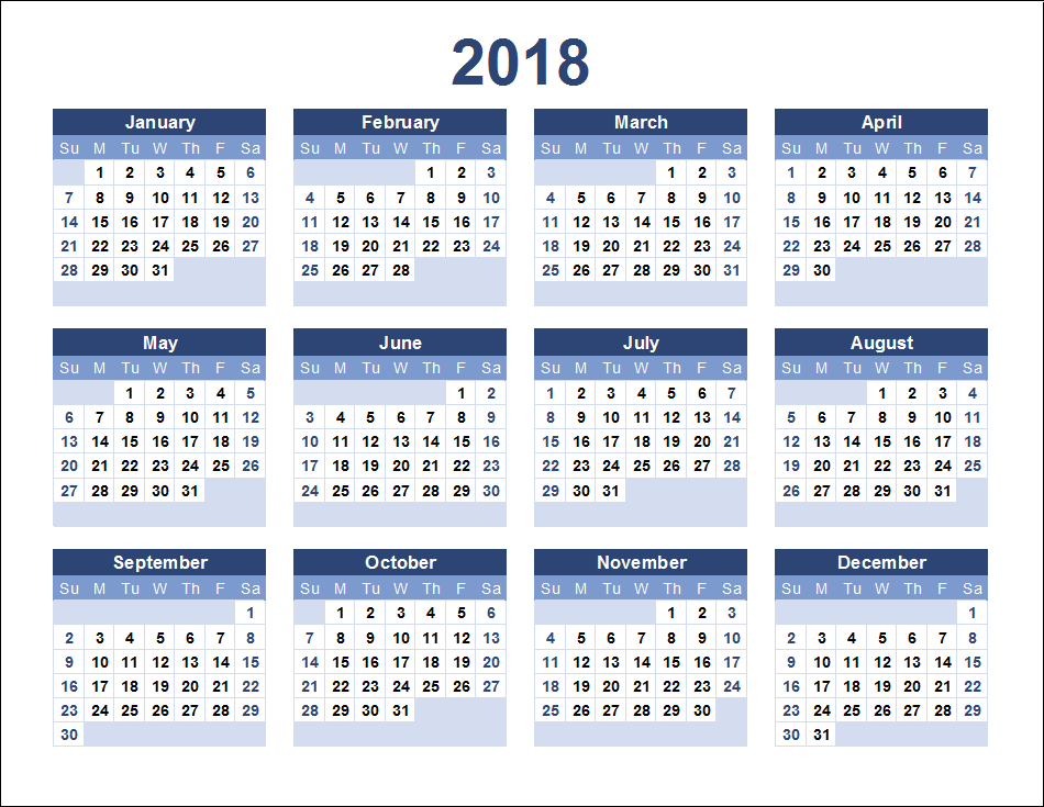 2018 yearly calendar on one page