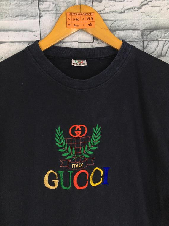 440540324548 Vintage GUCCI Italy Tshirt Unisex Medium 90's Hip Hop Bootleg Paolo Gucci  Italy Spell Out Multicolor