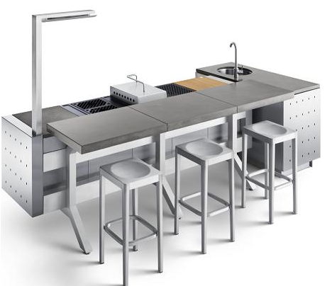 Fuego Modular Outdoor Kitchen Designed By Robert Brunner Added Bar From Concrete Fo Modular Outdoor Kitchens Outdoor Kitchen Appliances Modern Outdoor Grills