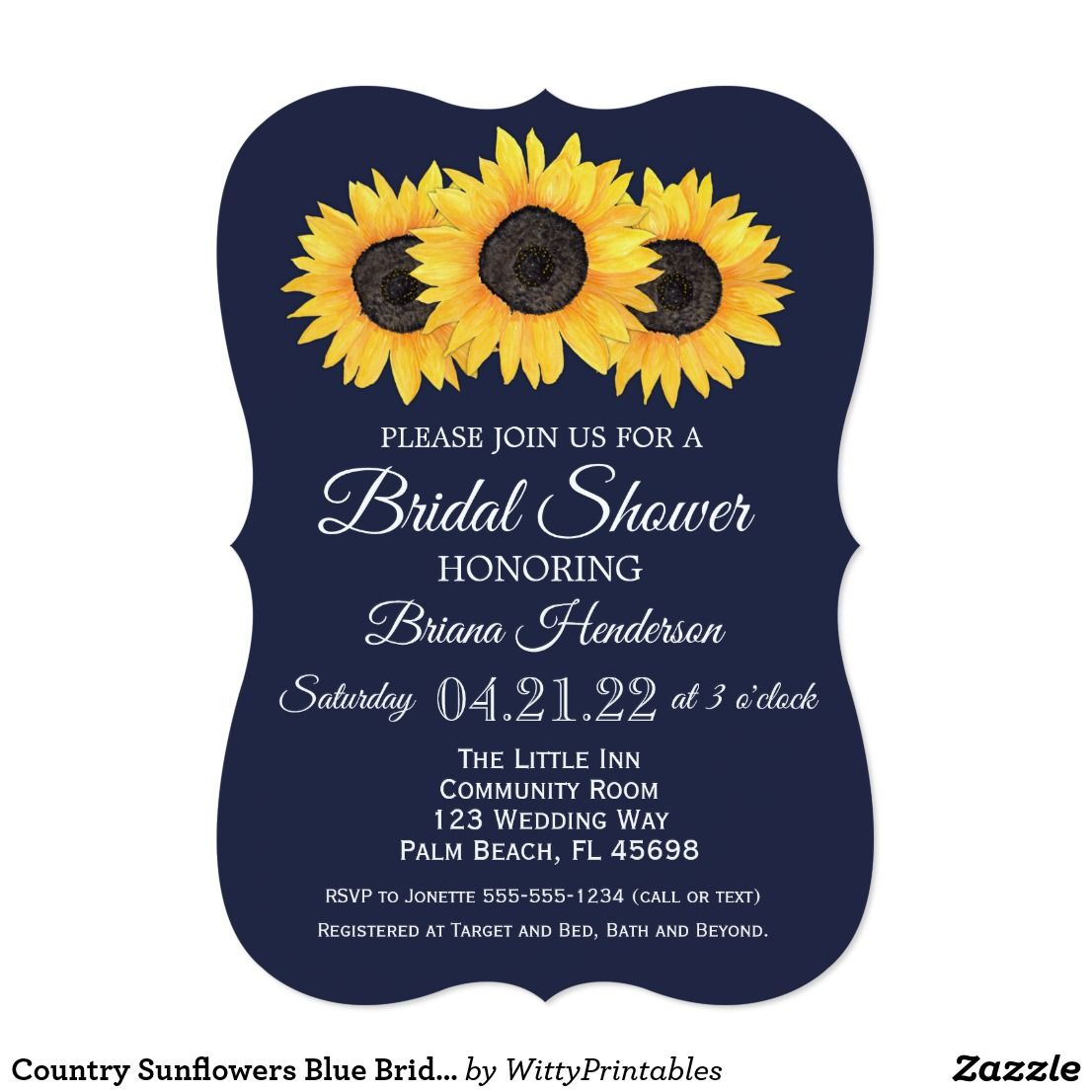 Sunflowers Bridal Shower Invitations Country Blue | Bridal showers ...