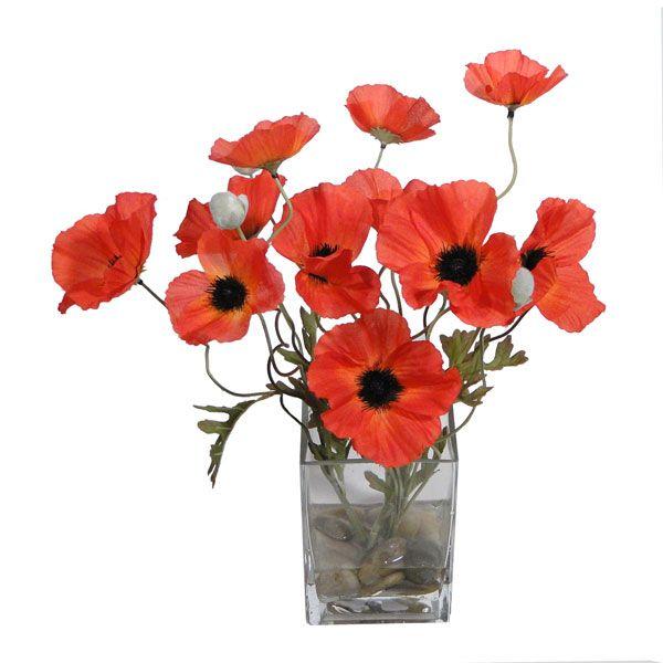 Artificial red poppy arrangement in a glass vase sweetest day red artificial red poppy arrangement in a glass vase mightylinksfo
