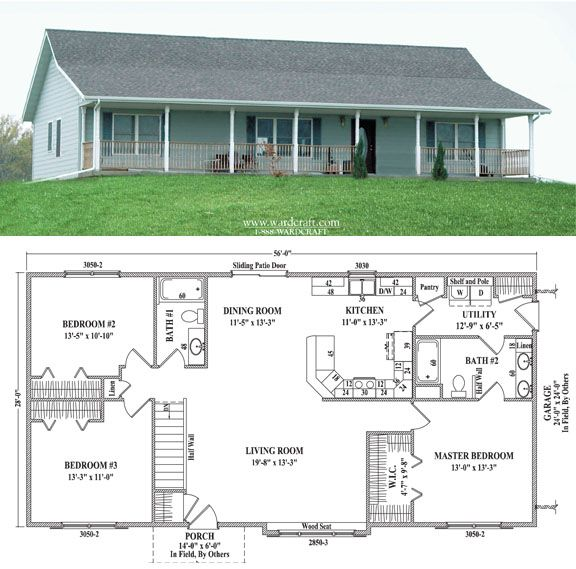 Like This Plan Enlarged With A Porch All The Way Around Steps To Basement Barn House Plans Pole Barn House Plans Metal House Plans