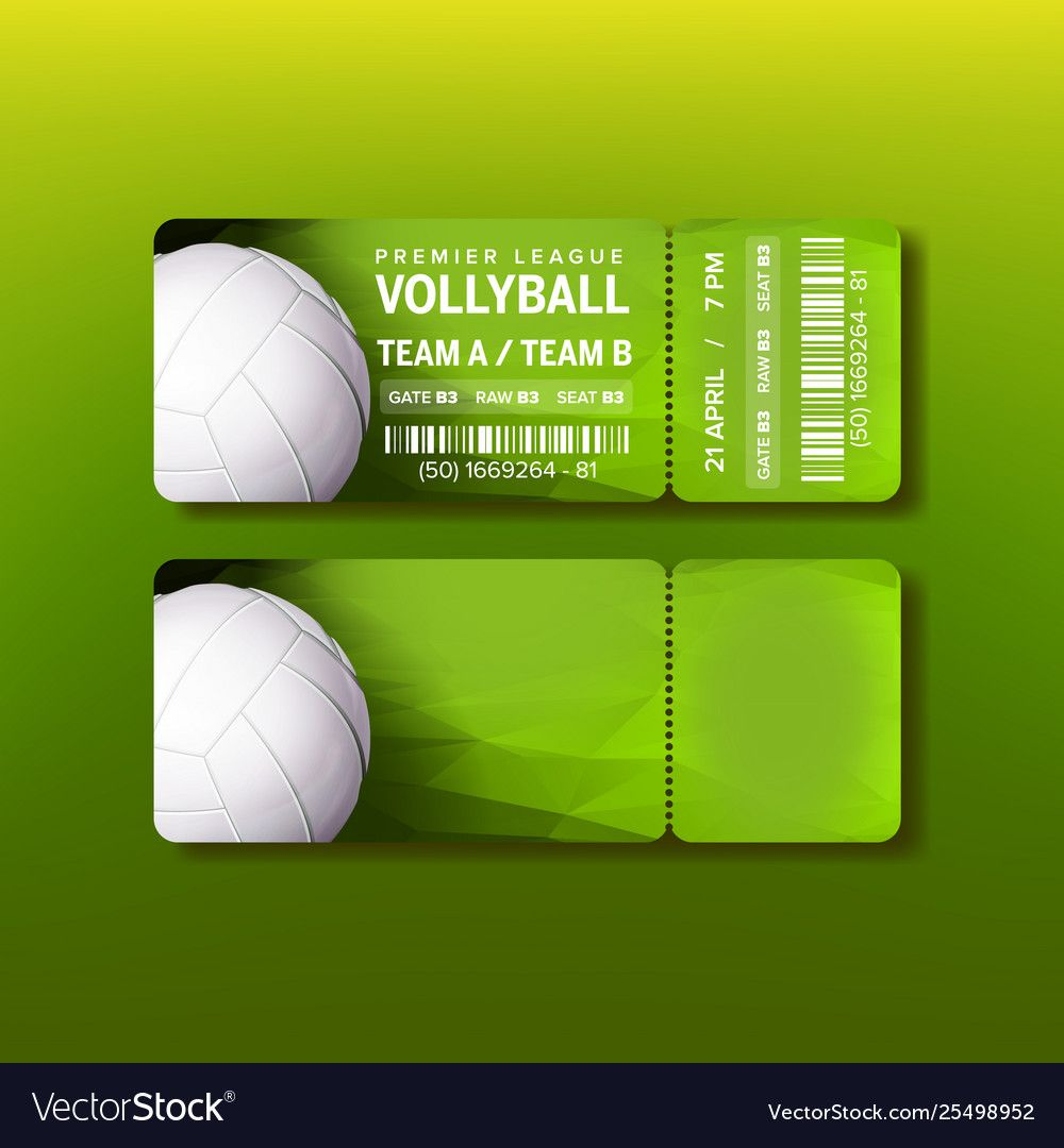 Ticket On Premier League Of Volleyball Royalty Free Vector Affiliate League Premier Vintage Business Cards Template Vintage Business Cards Vector Free