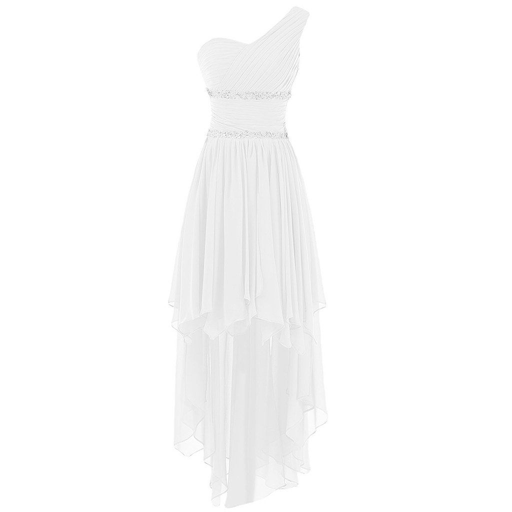 Lemai one shoulder high low ruffles beaded prom homecoming cocktail