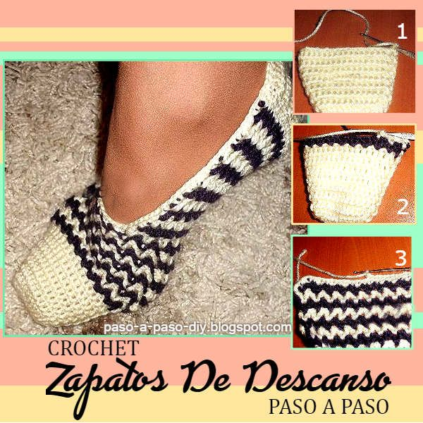 Pantuflas tejidas con ganchillo en punto V paso a paso | Crochet y ...
