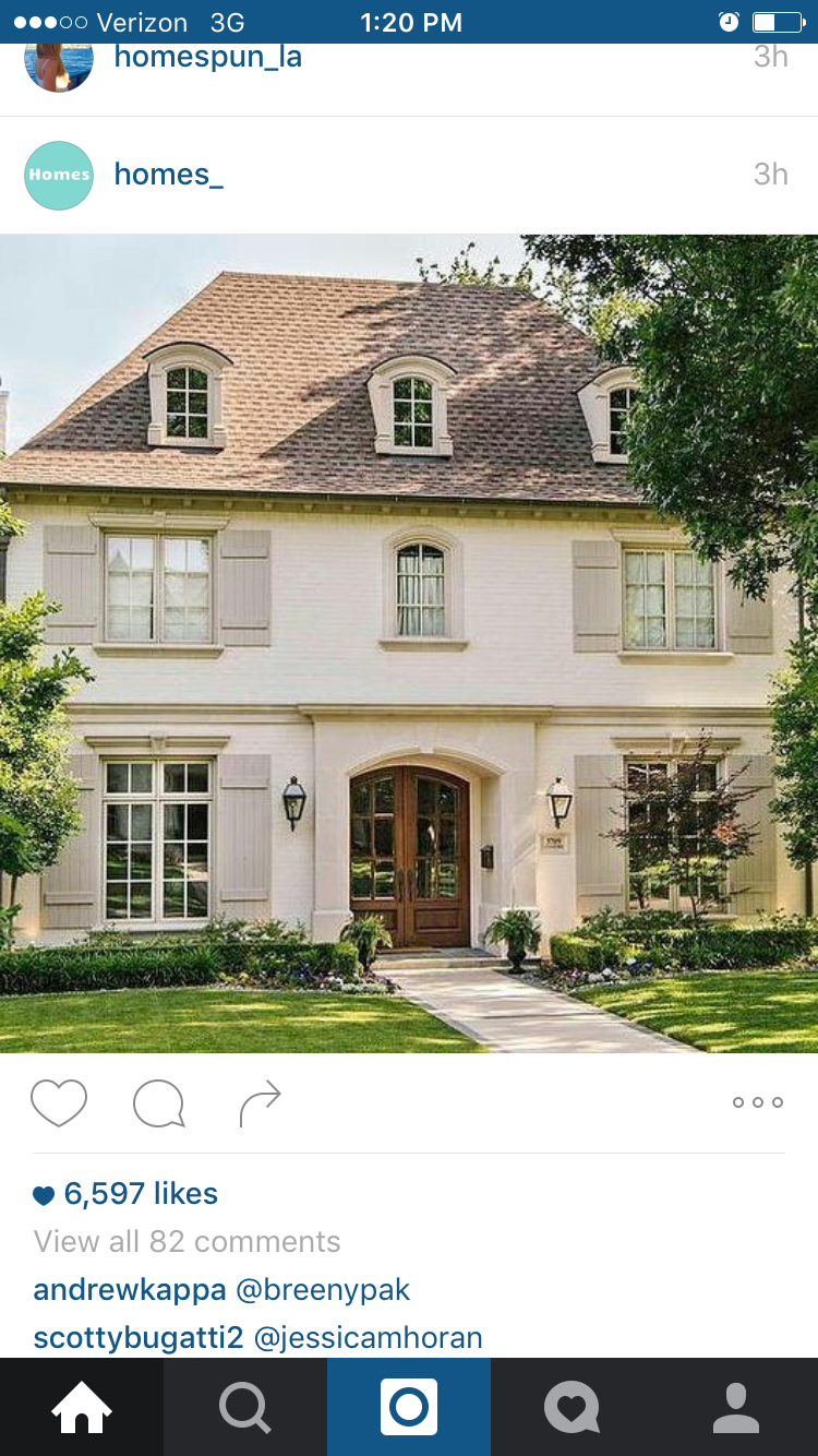 Beautiful Home Inspiration   French Home Exterior With Light Grey Shutters  And Mansard Roof.