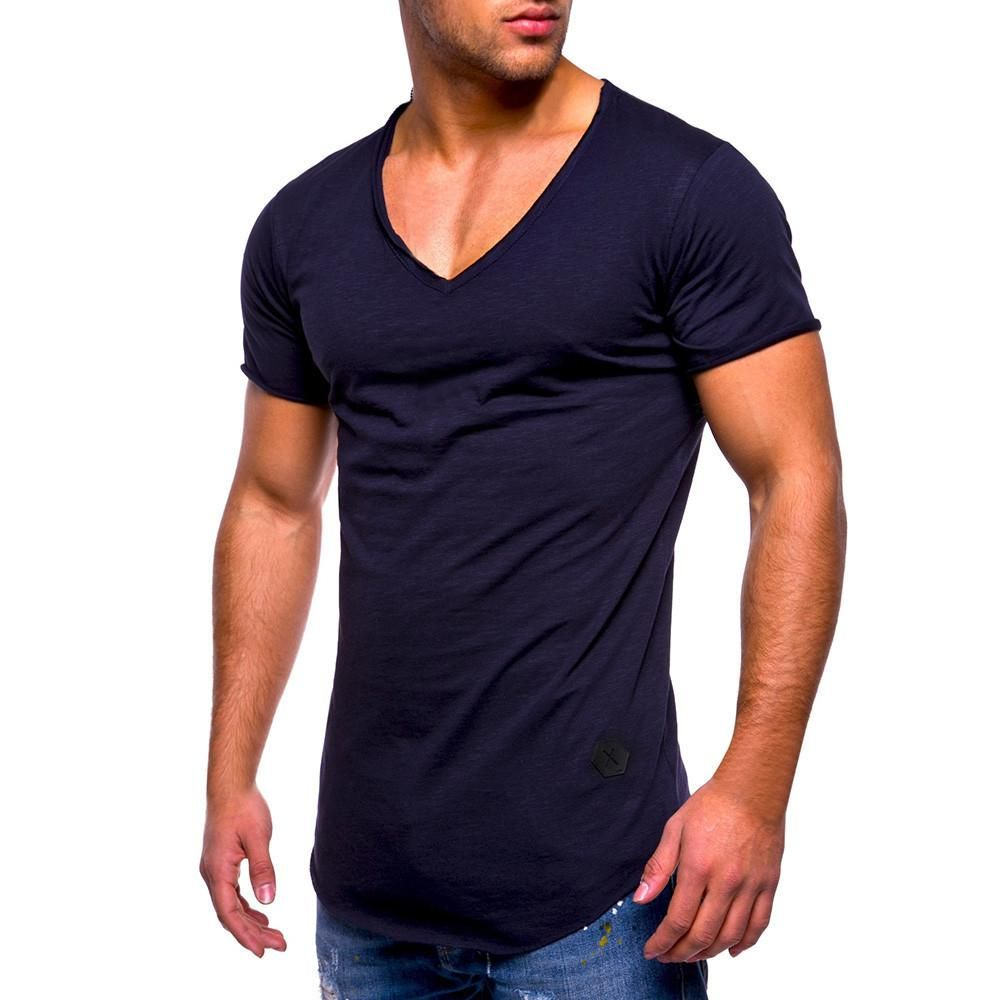 Fashion Men/'s Slim Fit V-Neck Short Sleeve Muscle Tee T-shirt Casual Tops Blouse