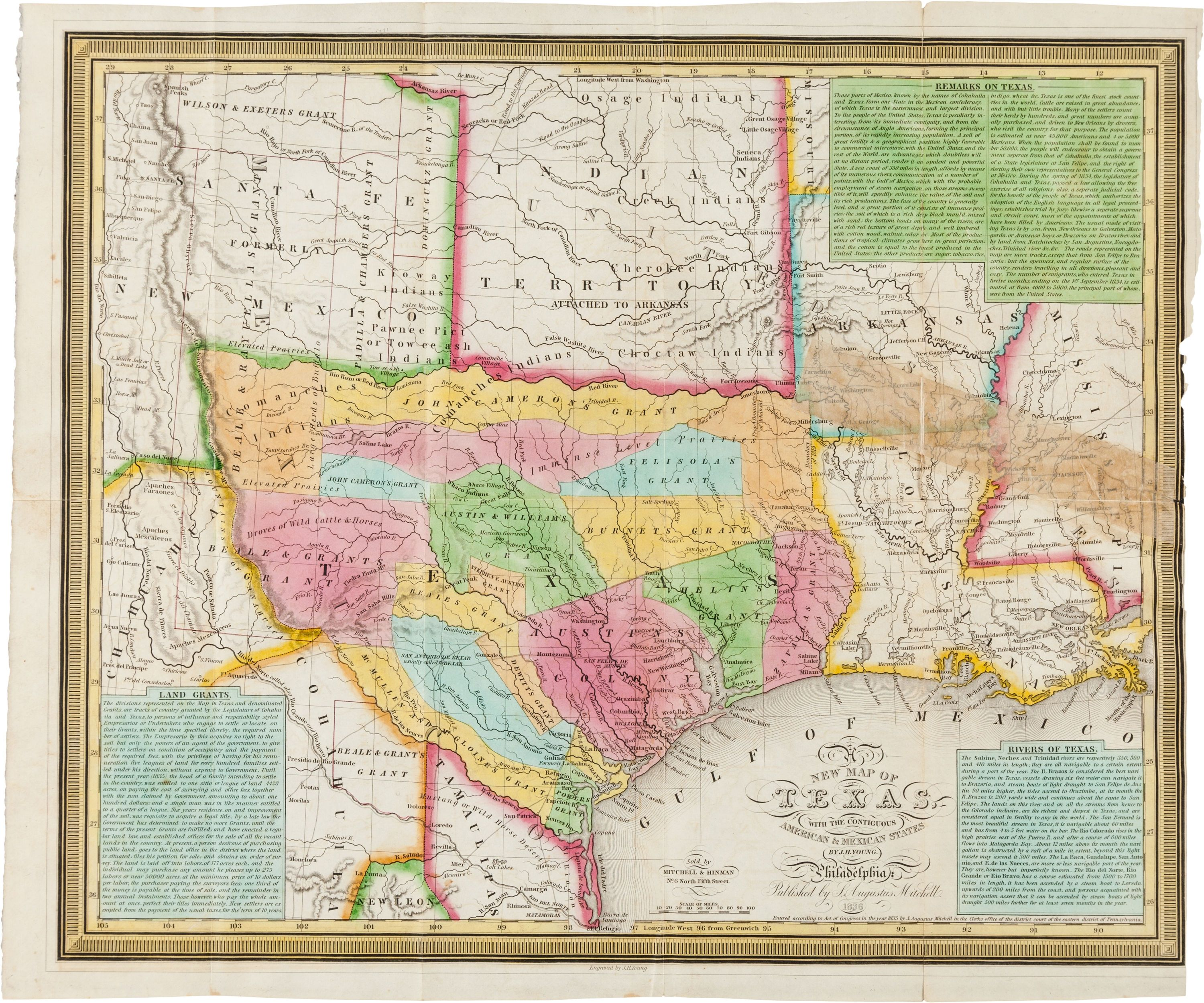 Samuel Augustus Mitchell A New Map Of Texas With The