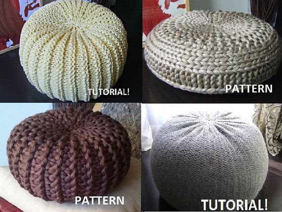 KNITTING PATTERN 40 Knitted Pouf Floor Cushion Patterns Tutorials Interesting How To Knit A Pouf Cover