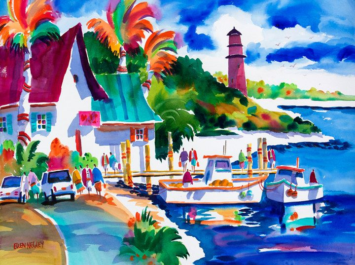 Tropical Art Fishing Boats Print Jupiter Lighthouse Florida