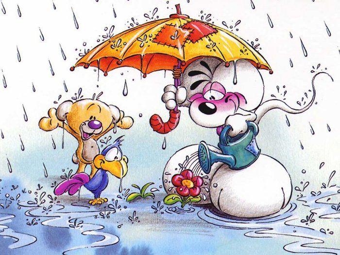 Открытки про дождь и новый год, раскладушка
