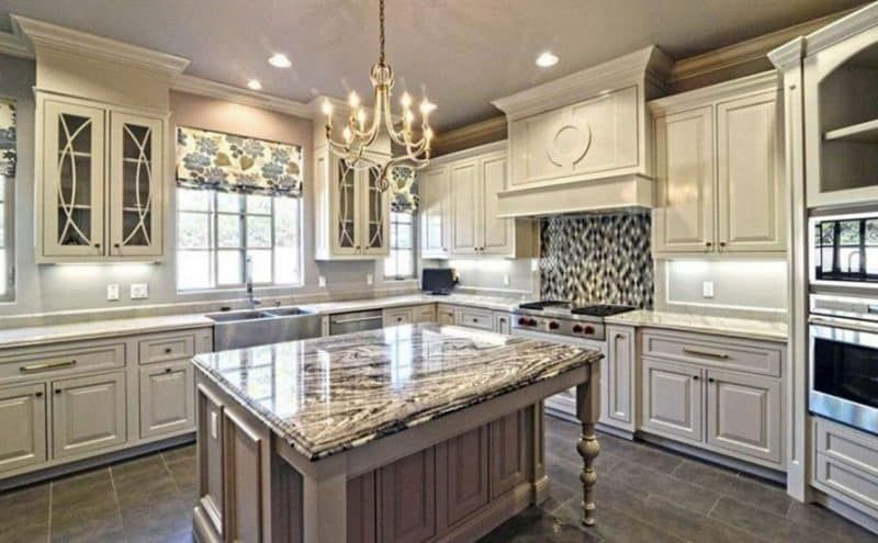 Luxury Kitchen with Antique White Cabinets and Mosaic ...