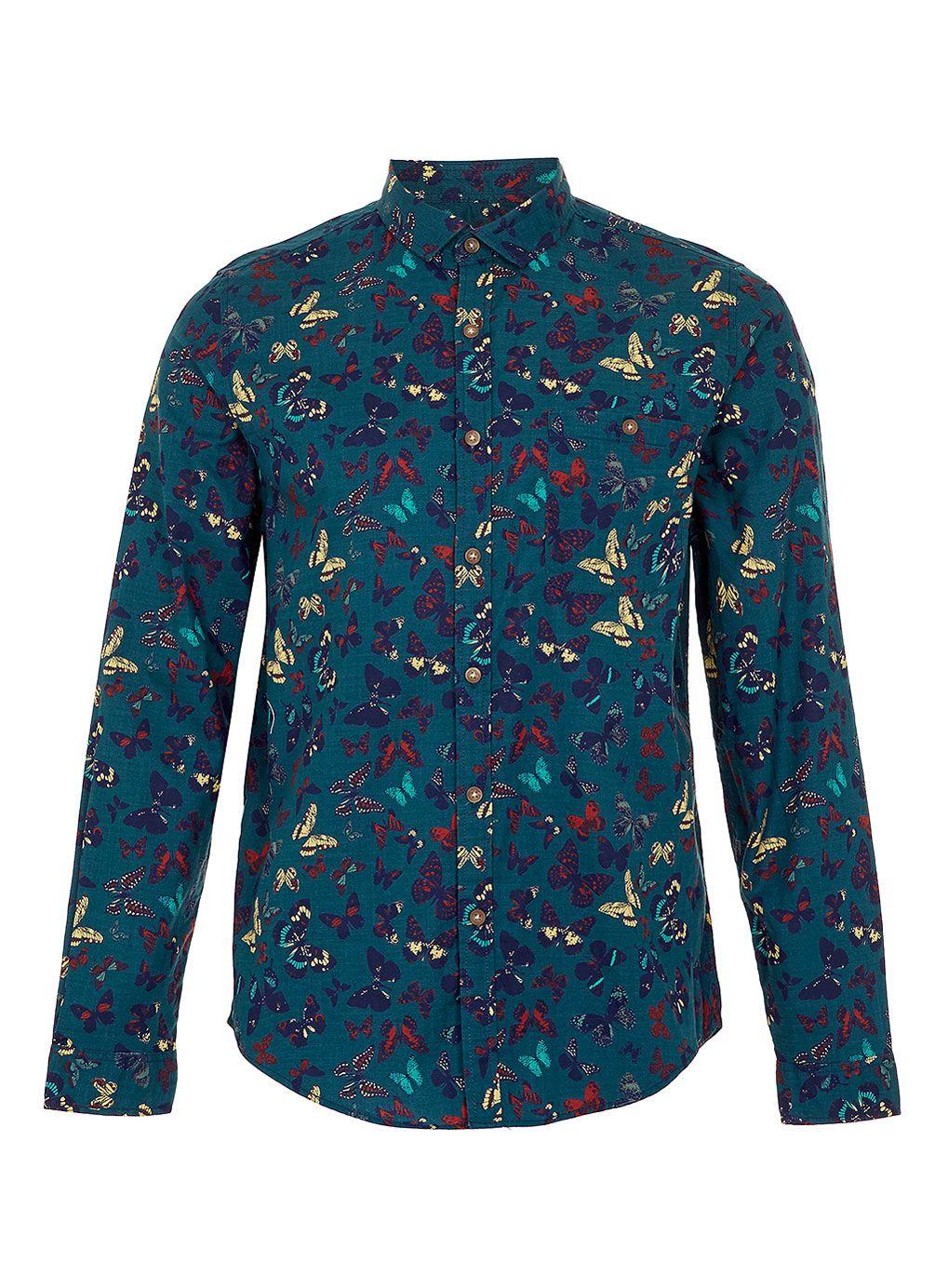 e93dfbf73 BLUE BUTTERFLY PRINT LONG SLEEVE SHIRT - Men's Shirts - Clothing - TOPMAN