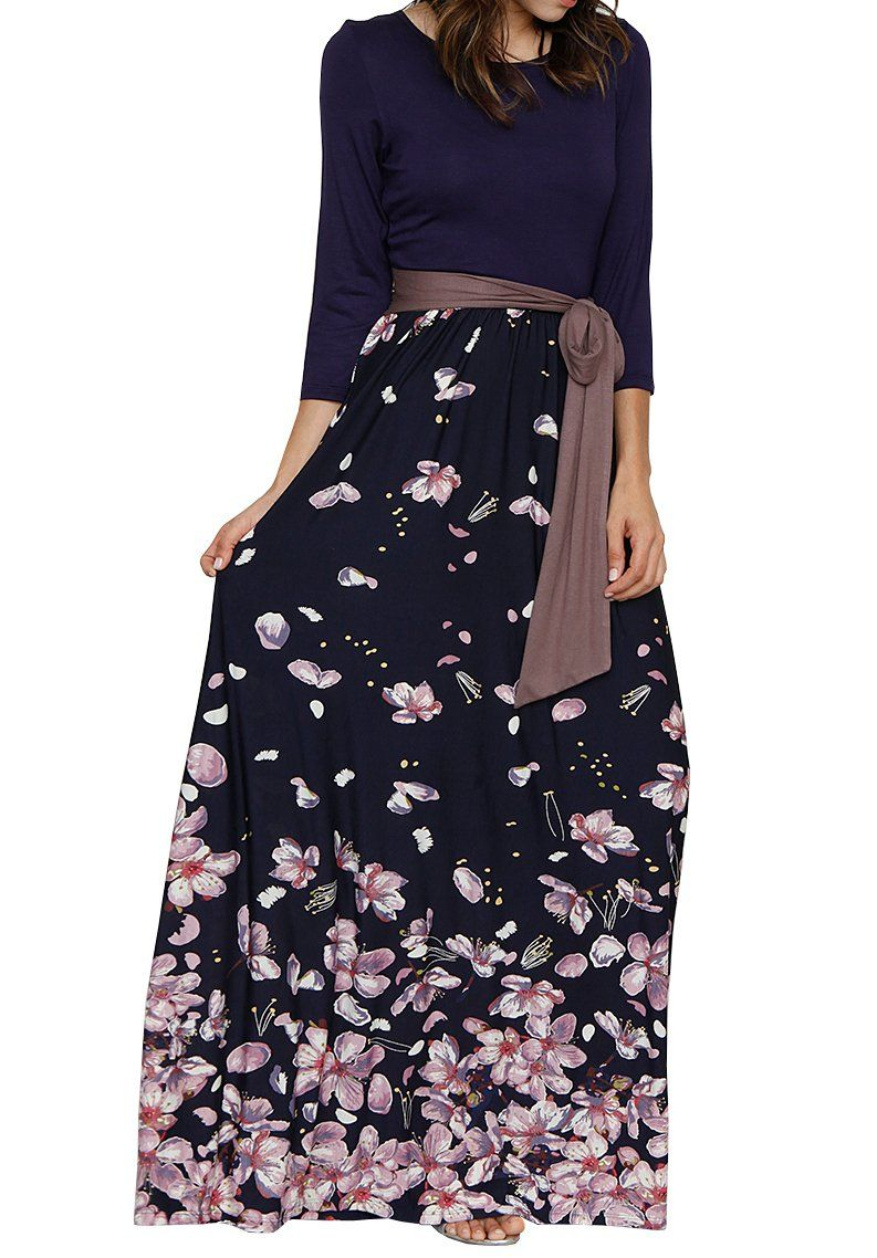 Makkrom womens maxi dresses sleeve high waist floral pleated