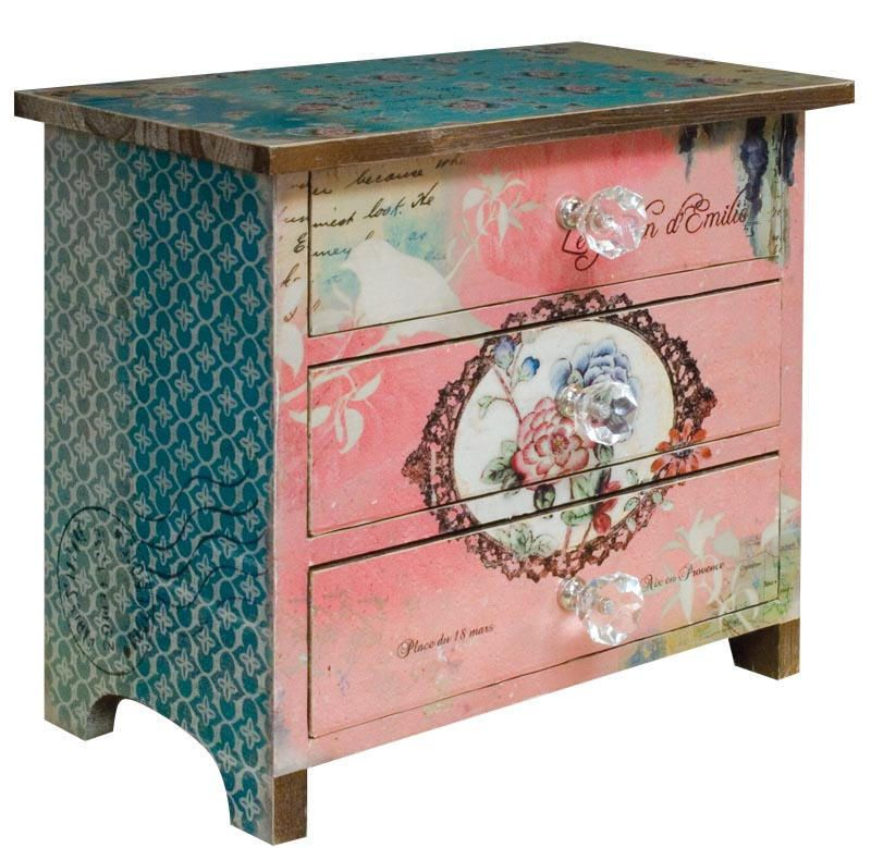 Shabby Chic Mini Pink Rose French 3 Drawer Storage Chest Small Chest ...
