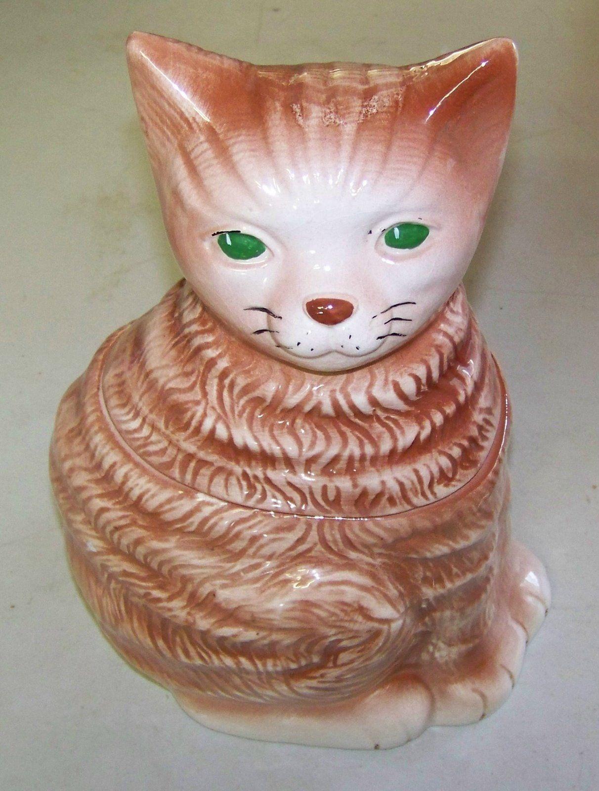 Brown Brownish Cat w Green Eyes Cookie Jar | eBay