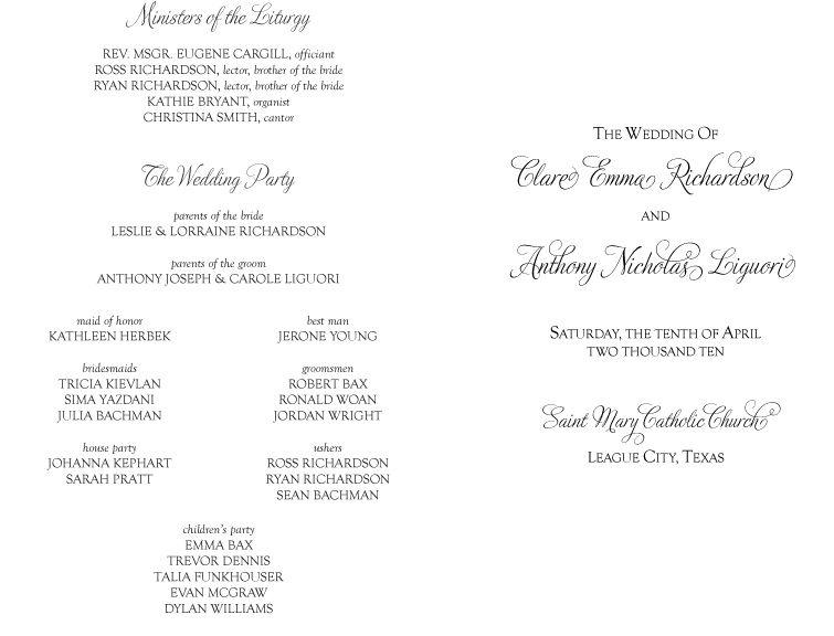And Galveston Bay Catholic Wedding Programs For Non Mass Ceremony - fresh sample wedding invitation tagalog version