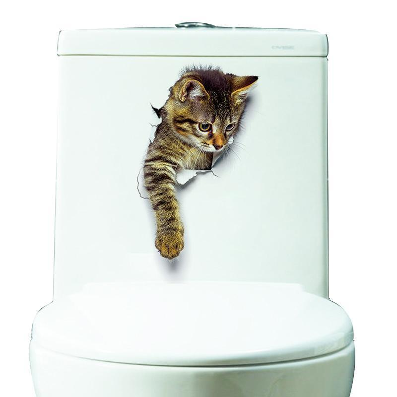 3d cat funny adhesive sticker wall stickers toilet on wall stickers 3d id=51162