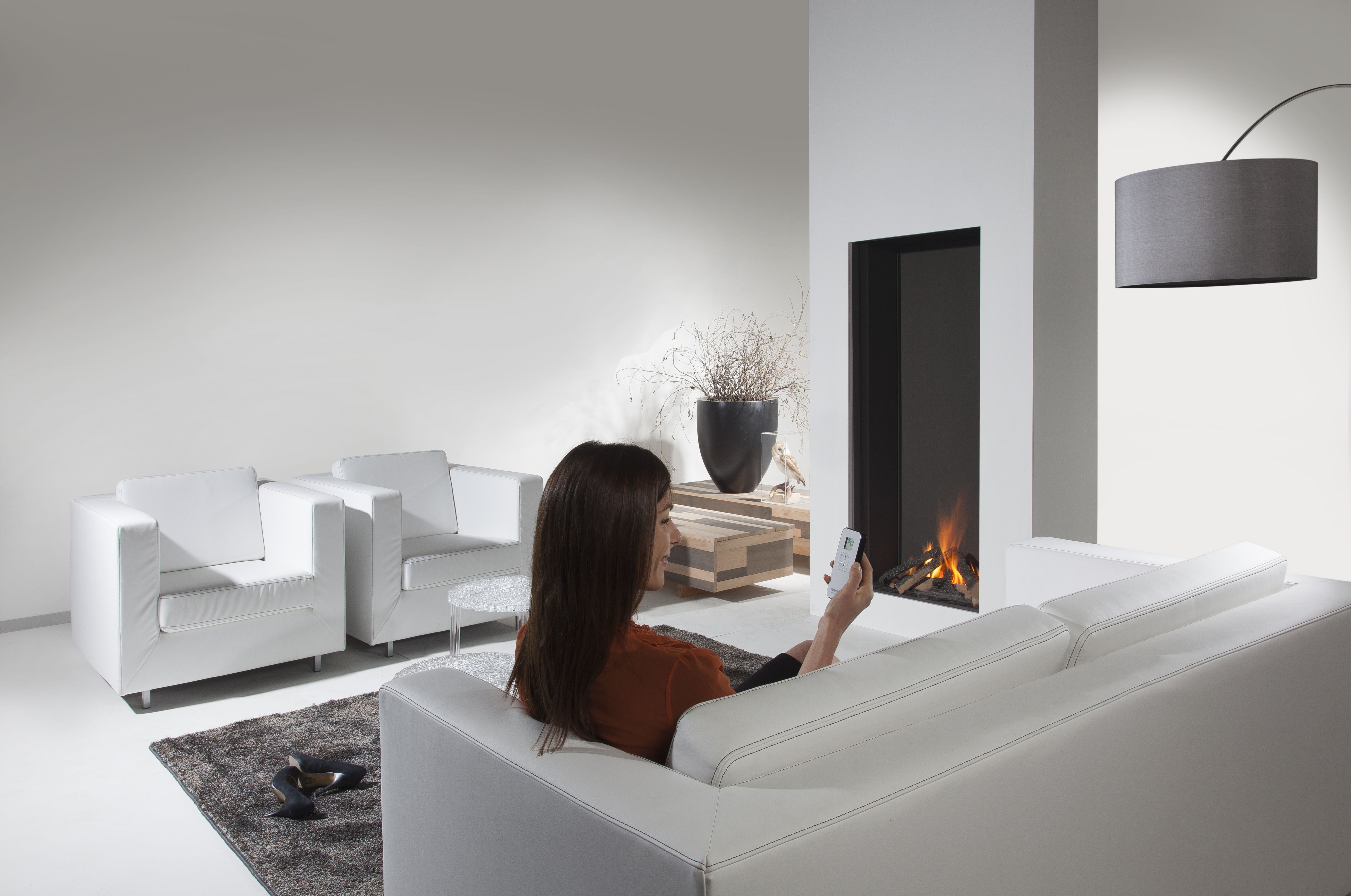 """Sky -- This vertical fireplace soars over 5 feet tall making a """"Wow"""" factor in your your home. Double burner technology means the flames have great variation. The homeowner will appreciate such precise control."""