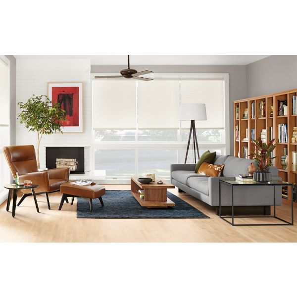 Accent Wall For Contrastwith Red: Room & Boardlike Sofa Against Book Shelves