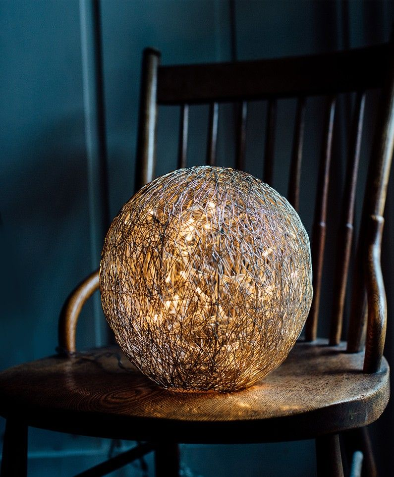 Wire Ball Table Lamp Table Lamp Wire Table Interior Design Living Room Decor