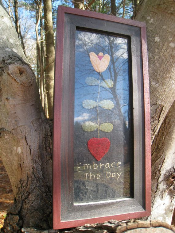Embrace the Day Felt Art Picture by magpiesfancyshop on Etsy