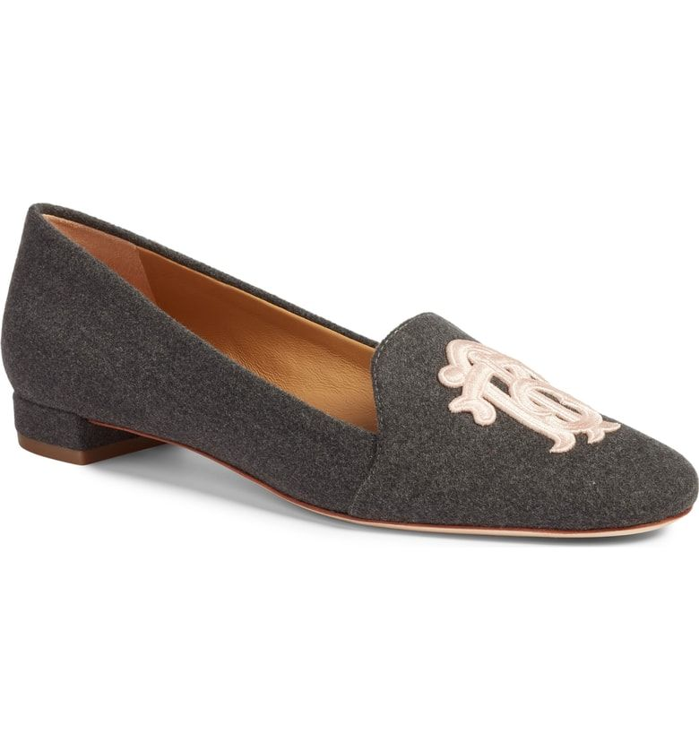 ebd741990 Free shipping and returns on Tory Burch Antonia Monogram Loafer (Women) at  Nordstrom.com. A baroque monogram rendered in gilded embroidery flourishes  at the ...