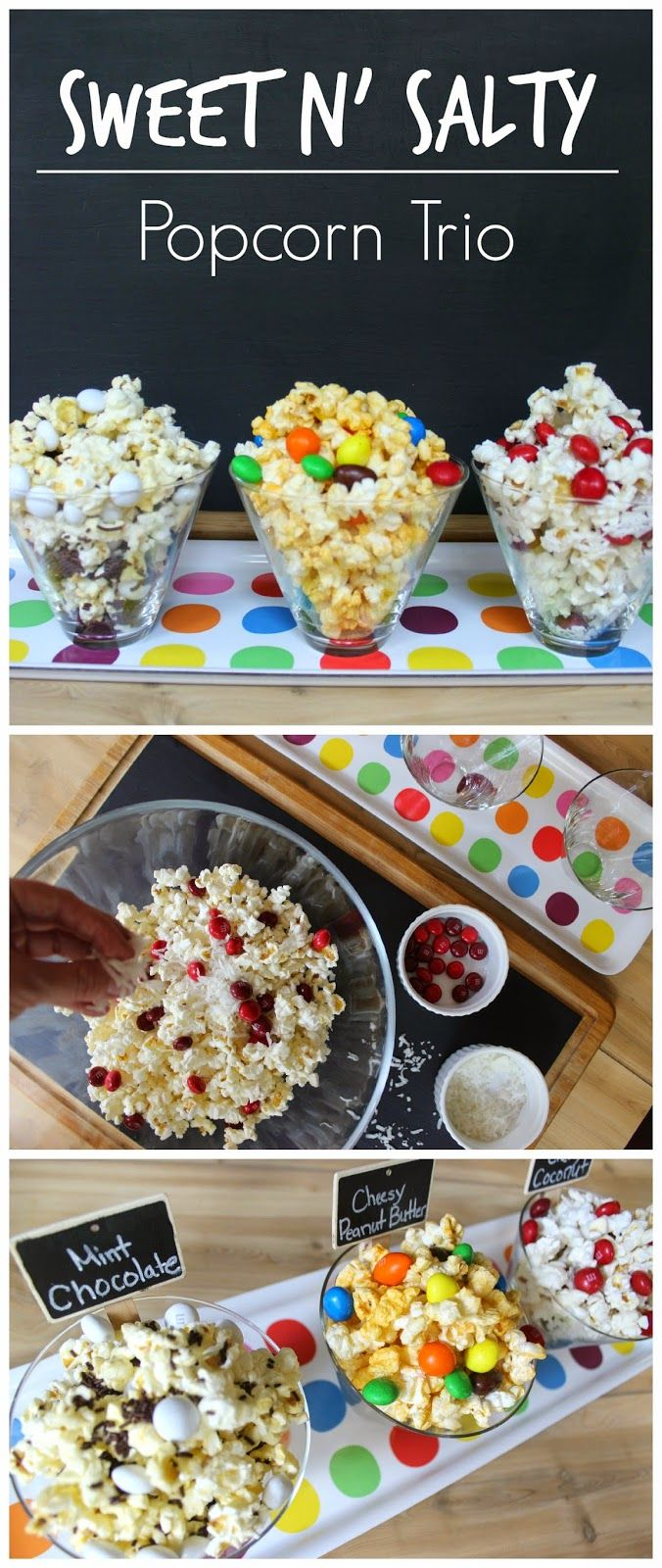 Sweet N' Salty Popcorn Trio #popcorn #sweetnsalty #M&Ms #dessert #food #recipes #partyfood #moviefood #gamedayfood #OrvilleRedenbachers #MovieNight4Less #shop #cbias
