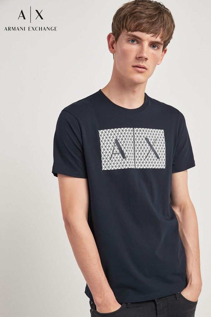 elegant shoes low cost official photos Mens Armani Exchange Navy AX Logo T-Shirt - Blue | Products ...