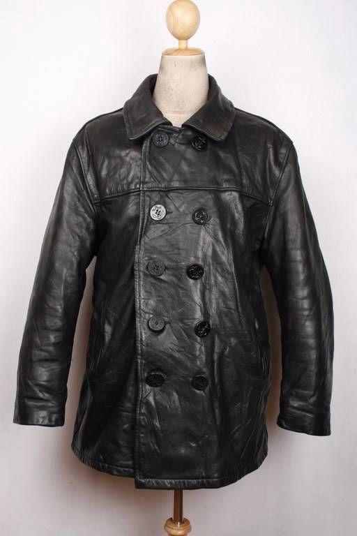 Vintage SCHOTT US NAVY 740N Leather PEA COAT Jacket Size 44   Us ...